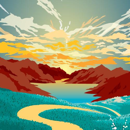 10 scenic vector landscapes