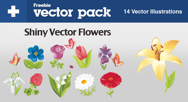 Shiny Vector Flowers For FREE