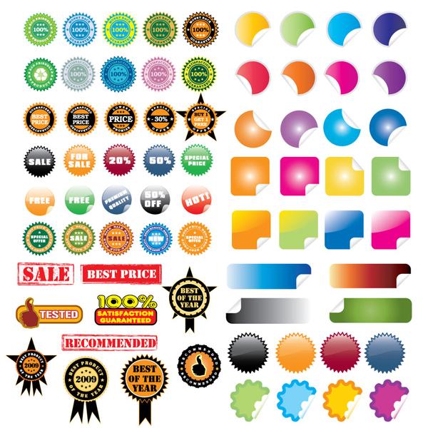 40 Adet Vektörel Sticker - Etiket