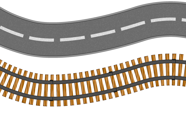 Train Track Page Border And rail tracks on a path